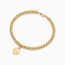 SHINETUNG 1:1 S925 Sterling Silve High Quality TIF Gold Bead Heart Bracelet Women Romantic Gift Charm Jewelry(China)