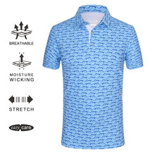 EAGEGOF Short sleeve Golf shirt men Fashion print Polo shirts Regular fit golf wear Quick dry clothing for training sportswear(China)