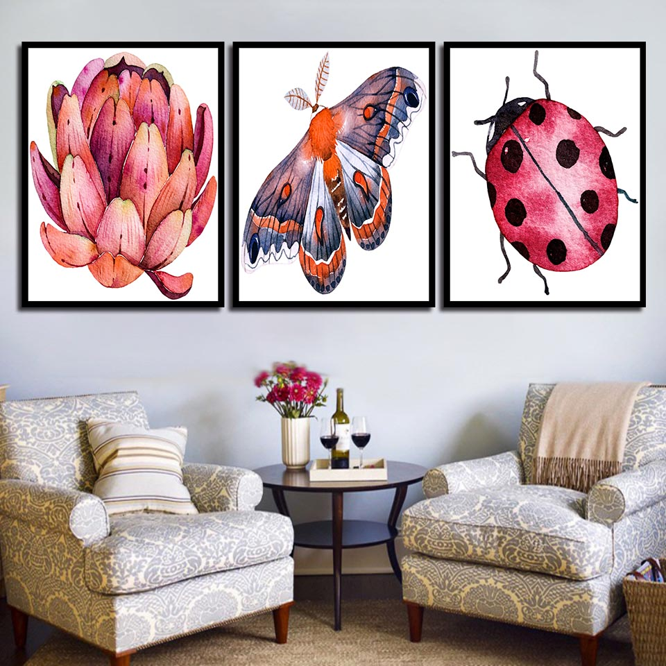 Wall-Art-Printing-Modern-Fashion-Nordic-Style-Poster-Ladybugs-Butterfly-And-Flower-Minimalism-Canvas-Paintings-Decor