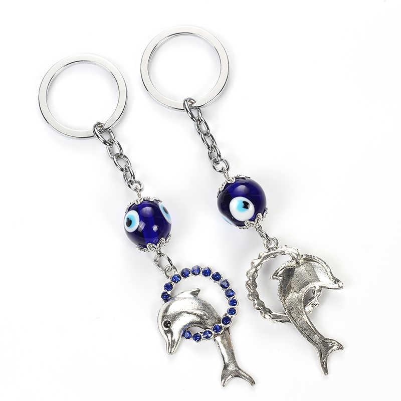 May mắn Mắt Màu Xanh Ác Mắt Cá Heo Keychain Pha Lê Động Vật Độc Móc Chìa Khóa Xe Móc Chìa Khóa Cho Phụ Nữ Người Đàn Ông Trang Sức Quà Tặng EY4931