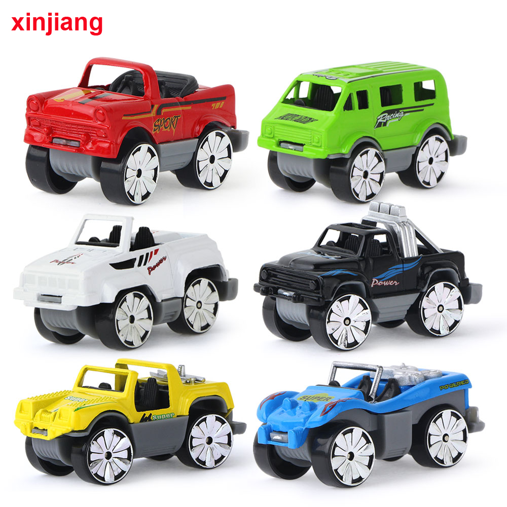 6pcs Set 1 64 Scales Cast Alloy Car Model Colorful Sliding Cars Toys Vehicles Early Educational For Kids