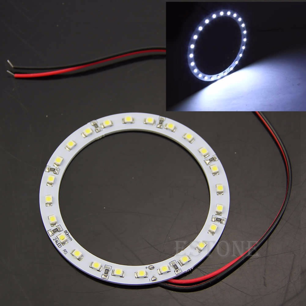 1pair 80mm Angel Eyes 24 SMD LED Ring Car Bright White Light Hot