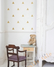 Gold Triangle Wall Sticker Vinyl Decals (Set of 35pcs) , Gold Geometric patterns modern nursery wall art decor Free shipping