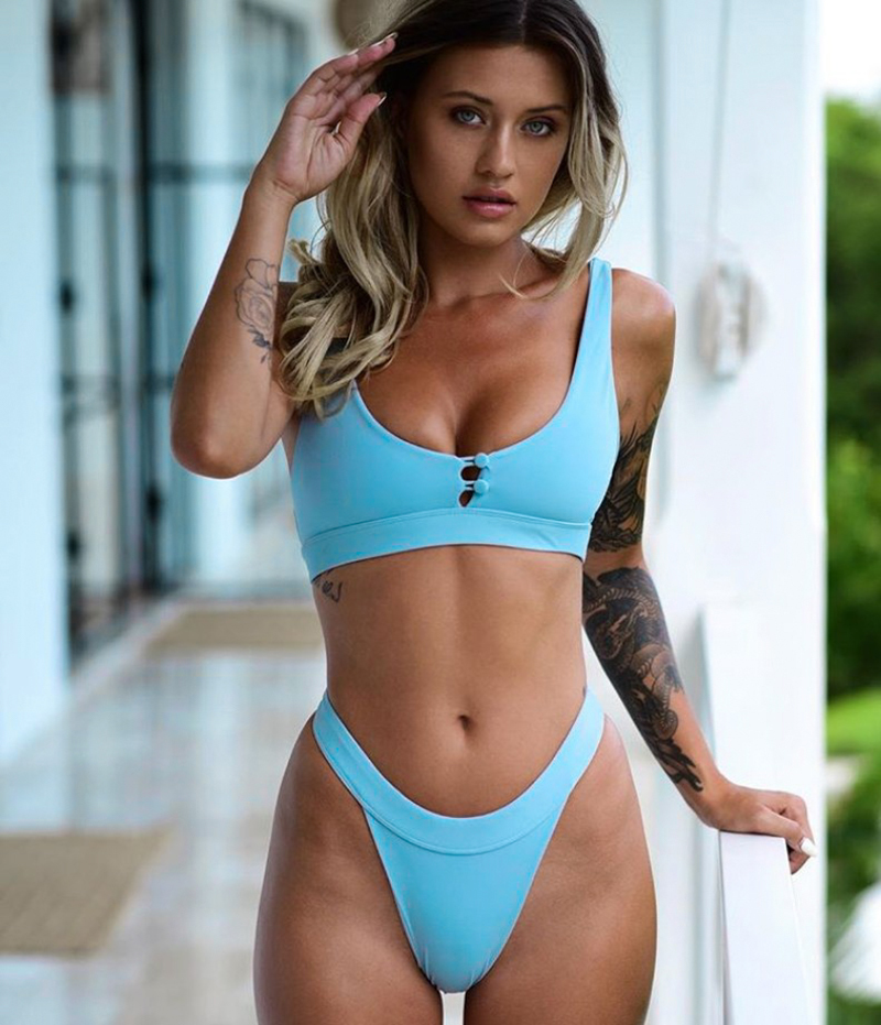 ZTVitality Button Patchwork Solid Swimsuit 2018 Hot Sale Padded Low Waist Sexy Bikini Bordered Swimwear Women Brazilian Biquini