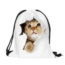 JLIDA Animals Cat 3D Printing White Drawstring Travel Shoes Lingerie Makeup Storage Bag Sports Backpack For Girls Organizer