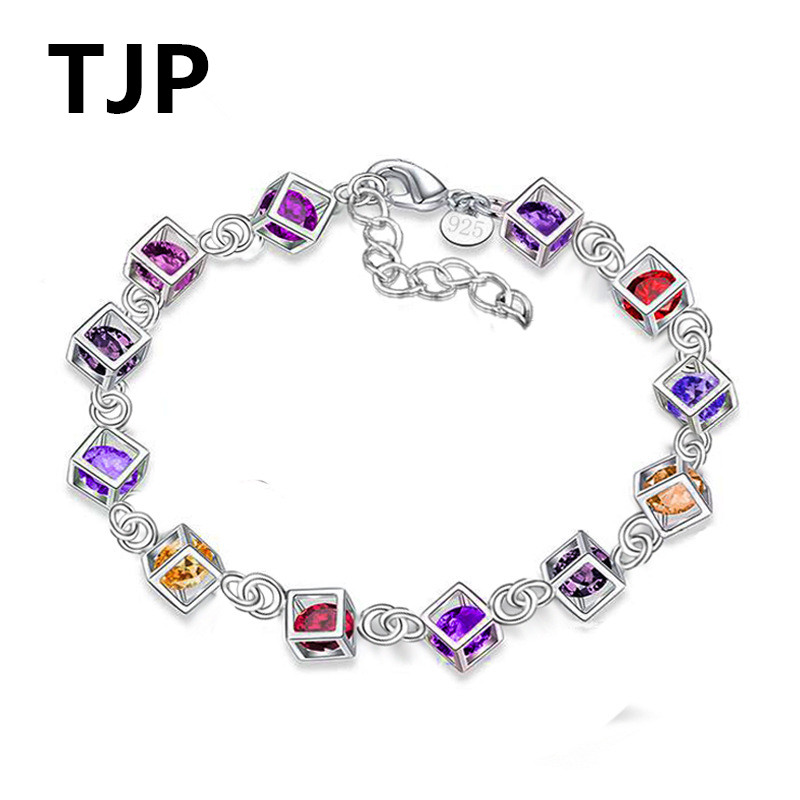 TJP Charm 925 Sterling Silver Girl Engagement Party Bracelets Colorful Love Cube Women Bangles Fast Shipping Fashion Lovers Gift