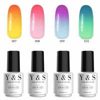 Y&S 8ml 4PCS/Set Temperature Change Color Set Nail Art Semi Permanent Soak Off Gel Nail Polish Set LED UV Lacquer Nail Art Tool