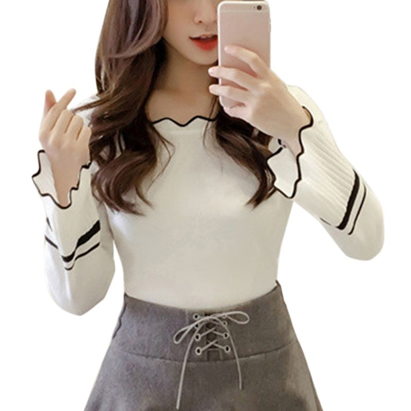 Women Fashion  Sweater Flare Sleeve Wavy Ribbed Color Knitted Tops Long Sleeve Sweet Sweater