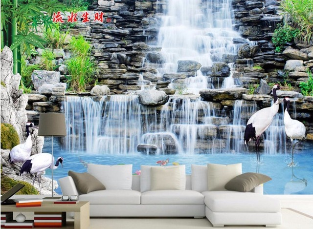 personnalis photo 3d papier peint non tiss mural cascade. Black Bedroom Furniture Sets. Home Design Ideas