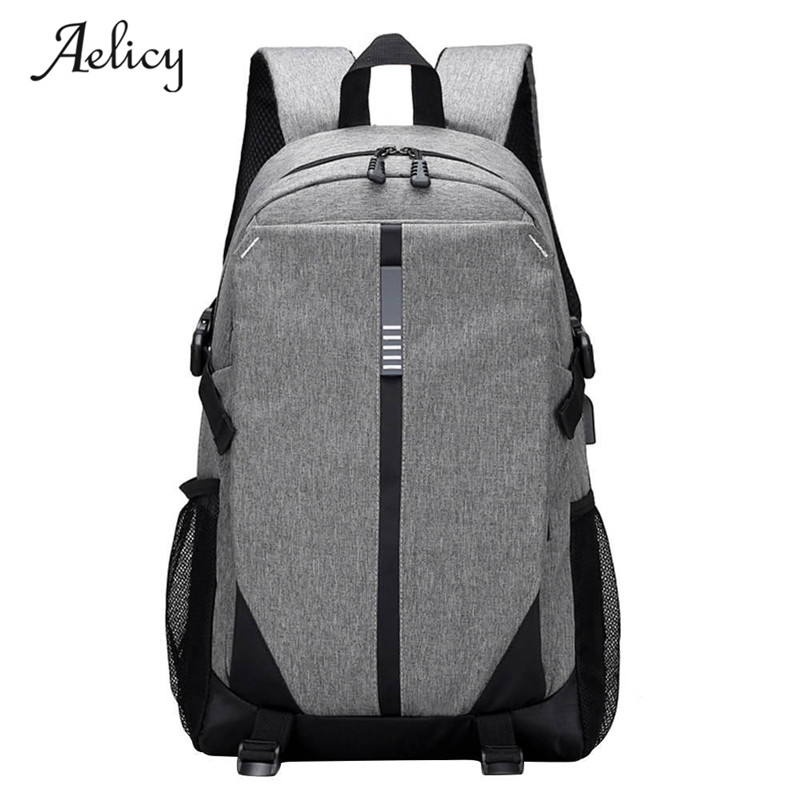 Aelicy Canvas Men Backpack Cool High School Bags for Teenage Book Bag Boys girls USB Schoolbag Male Back pack Laptop Women