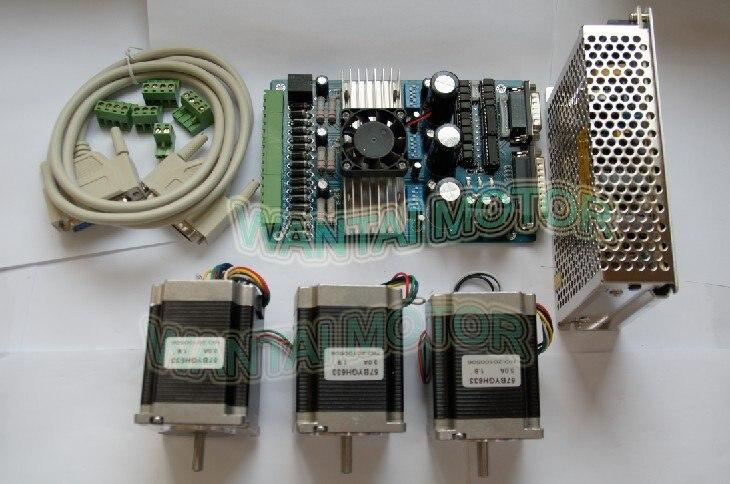 High Nema 23 Stepper Motor 270oz-in,3.0A +3 Axis Board 3D Printer CNC Kit ,57BYGH633, 2phases