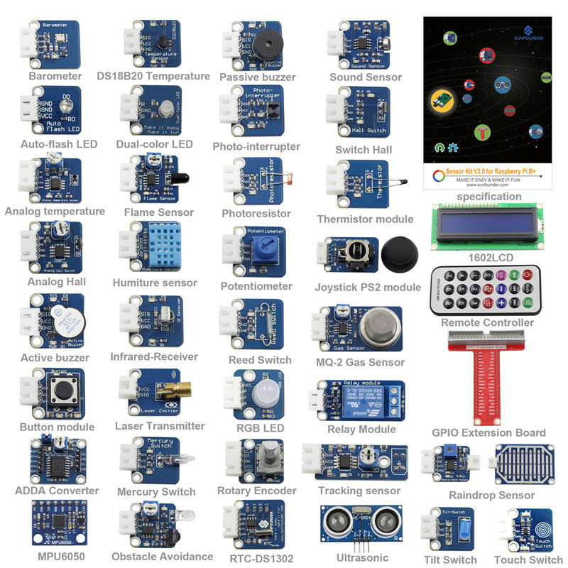 Raspberry Pi 3 Module B Sensor Kit 37 Modules In 1 Professional Kit For Raspberry Pi