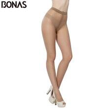 BONAS 6pcs 2D Solid Color Tights Women Skin Nylon Pantyhose Women Sexy Slim T Crotch Design Hosiery Tights Cheap Wholesale