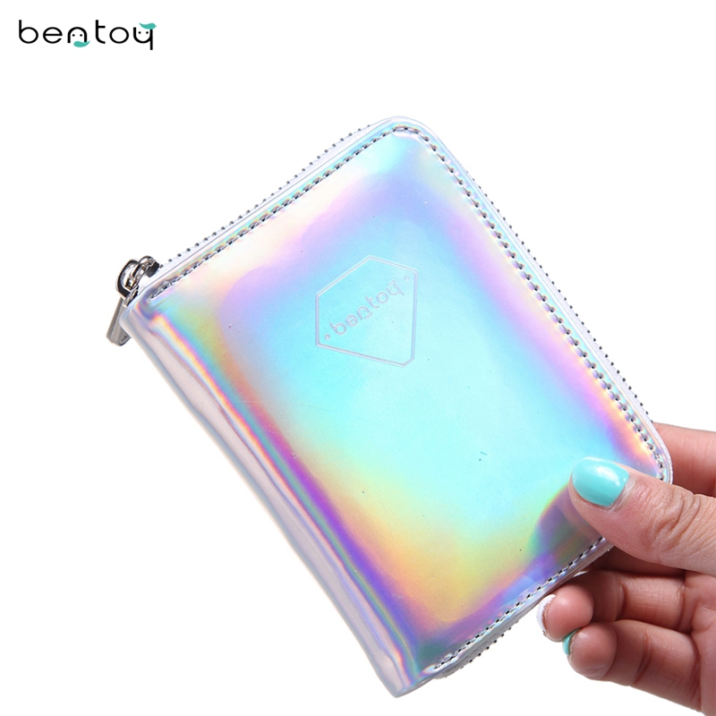 Silver Liten Läder Kvinnors Plånbok Hologram Pengar Purse Kort Koppling Bank Kortinnehavare Fashion Carteira Feminina Zip Coin Purse