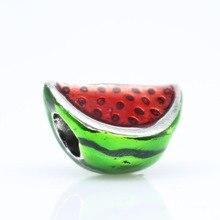 New Original 925 Silver Beads Charms Watermelon DIY Fruit Bead Charm Bracelets & Bangles Jewelry beads ENM537