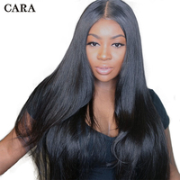 250 Density Lace Front Human Hair Wigs For Women Natural Black Pre Plucked Brazilian Wig CARA Remy Straight Full Lace Front Wig