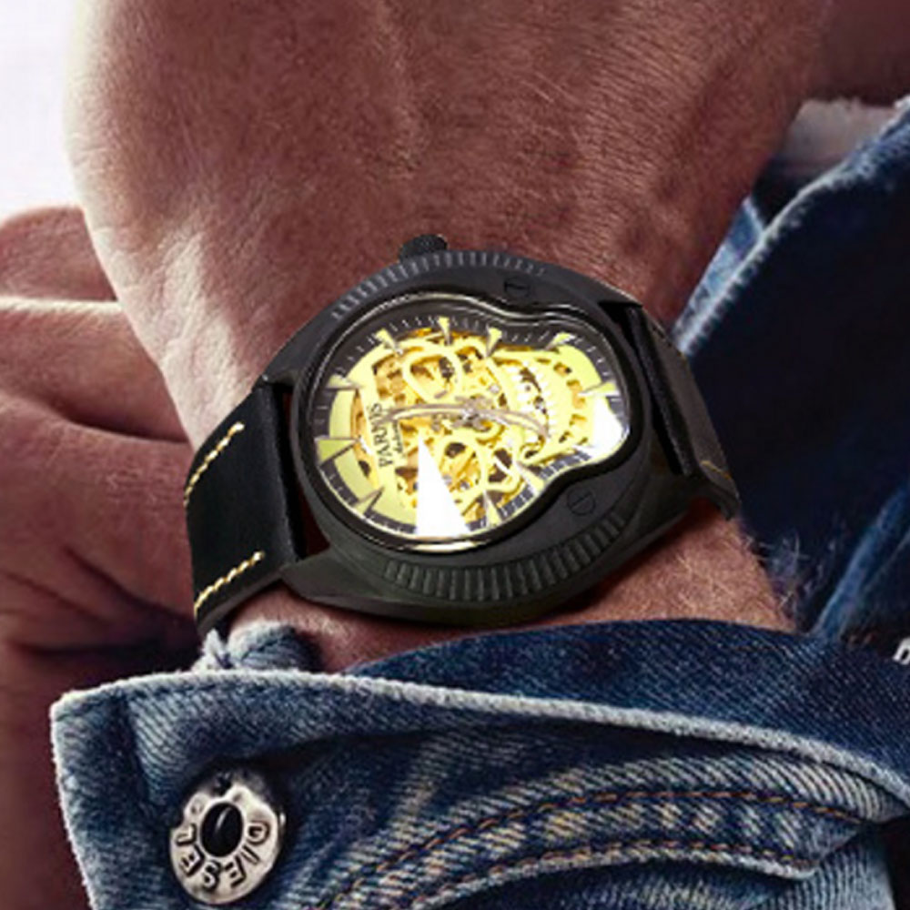 2019 PARNIS Men's Fashion Sport Watches Men Automatic Analog Date Clock Man Leather Military Miyota LUME Watch Relogio Masculino