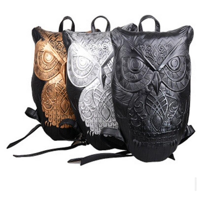 Mode personnalité Totem Animal hibou imprimer femmes voyage sac à dos Punk marée 3D Animal Type unisexe ordinateur sac à dos - 4