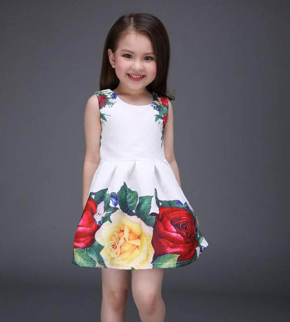 2017 new summer girls dress white designer brand new children clothing rose flower princess wedding party Lace girl clothes 2