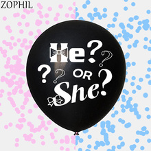 цена на 36 inch Baby Shower Decoration Black Surprise Balloons Blue Pink Confetti Gender Reveal Party Decorations Latex Giant Globos
