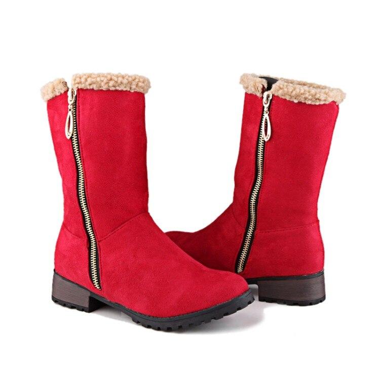 Bottes 47 Mode Botas Casual ardoisé Cycle Hiver marron Grande rouge 33 Noir Orteil Chaussures 2017 Pour Femmes Chaud Boucle 919 Taille Mujer Nouveau D'hiver VUzMSp