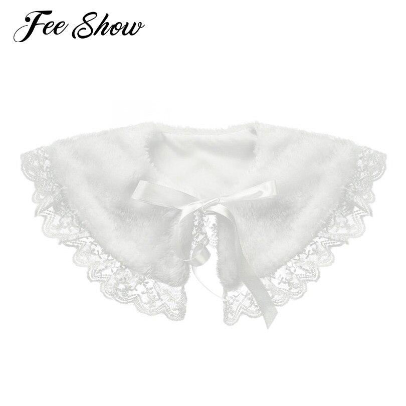 Children Girls Faux Fur Shawl Wraps Cape Shoulder Tippet Stole Pashmina Winter Bolero Shrug Princess Short Jacket Coat Outerwear