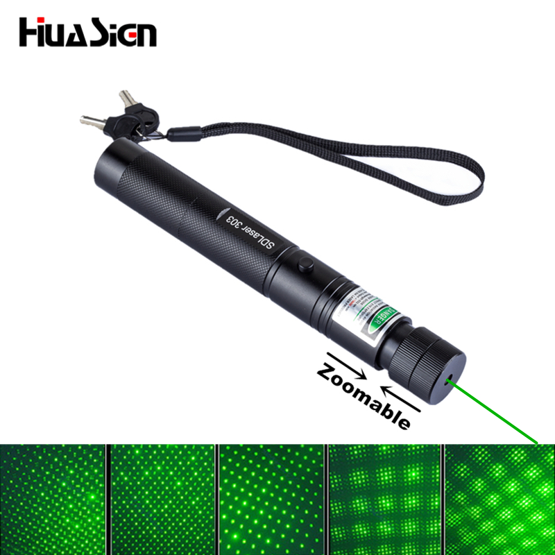 Professional Laser High Power Green Laser Zoomable 303 Lazer Pointer Point and Starry with Safe Key