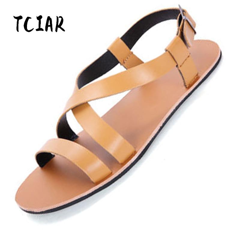 Mens PU Leather Sandals 2018 Fashion Rome Design Summer Beach Flip Flops Mens Casual Sandals Flat Slippers for Men DS022
