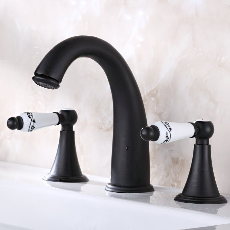 Archaize Taps Three-piece Suit And Mixers Taps Torneira Para Banheiro Design Style Faucet Bathroom Face Basin Faucet BlackArchaize Taps Three-piece Suit And Mixers Taps Torneira Para Banheiro Design Style Faucet Bathroom Face Basin Faucet Black