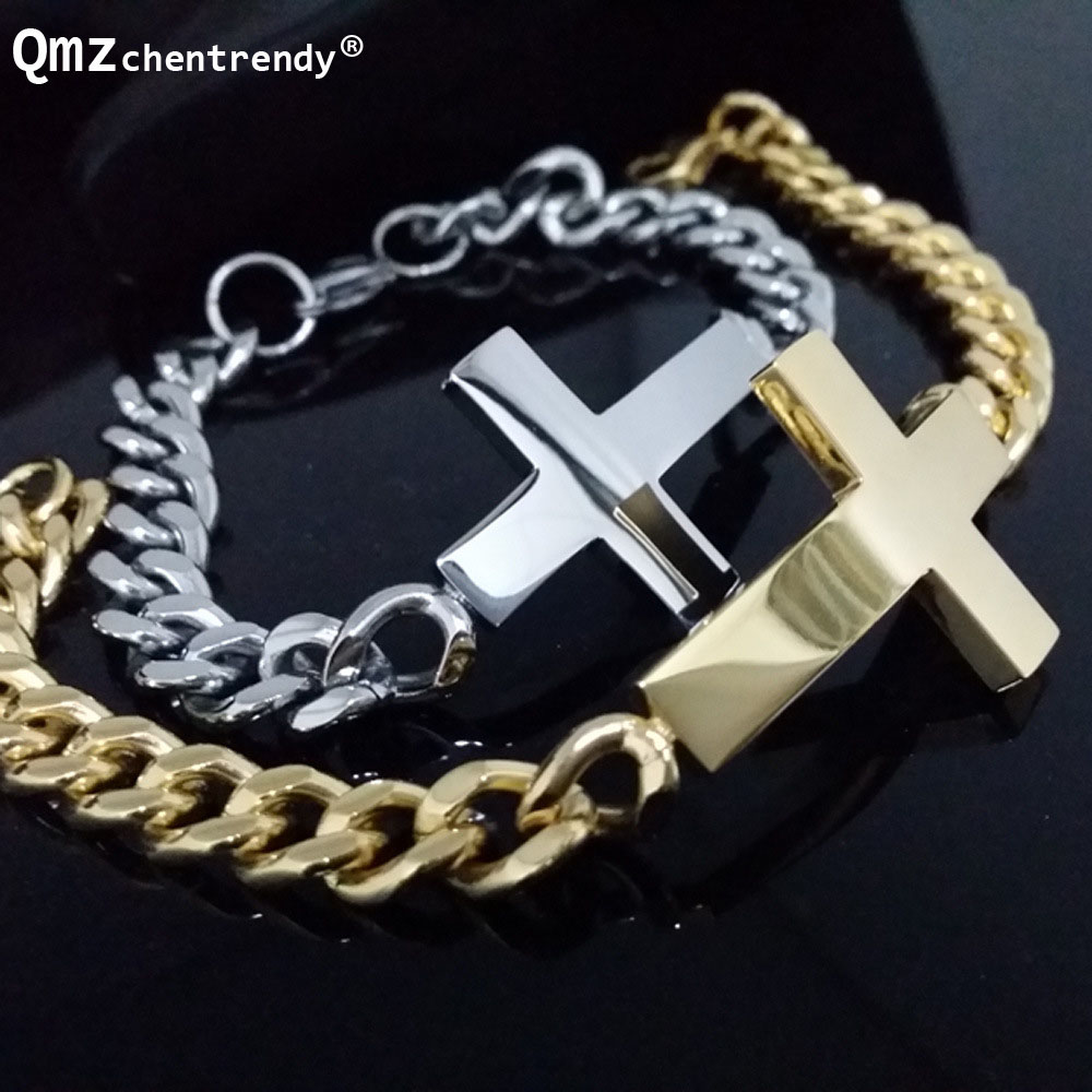 Stainless Steel font b Gold b font Silver Curb Cuban Chain Link Cross font b Bracelets