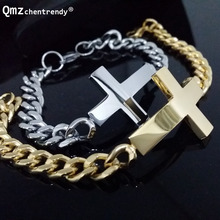 Stainless Steel Gold Silver Curb Cuban Chain Link Cross Bracelets Trendsetter Jewelry Rapper Men Women Cross Bracelets