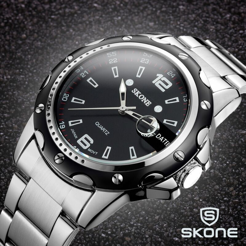 SKONE Men Watch Date Steel Band Silver Watches Hour Quartz Fashion Casual Dress Business Wristwatch Clock Male relogio masculino rosra brand men luxury dress gold dial full steel band business watches new fashion male casual wristwatch free shipping