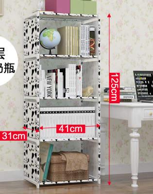 Non-woven Iron Tube Bookshelves 4-layer Dormitory Bedroom Storage Shelves  Bookcase Rack 125cmx41cmx31cm Boekenkast Librero B440