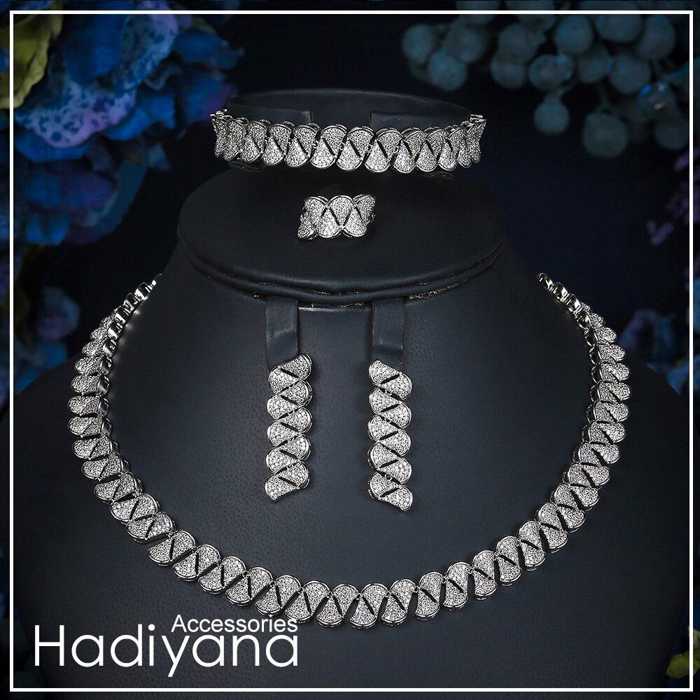 Hadiyana 2019 mode ensemble de bijoux africains pour femmes zircone décoré Dubai ensembles de bijoux de mariage bijoux fantaisie de mariée CN329