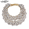 Ladyfirst 2016 New Arrival White Flower Crystal Vintage Luxury Statement Boho Collier Femme Crystal Maxi Statement Necklace 3564