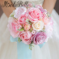 2017 Bridal Bouquet Pink Bouquet Mariage Artificiel Flower Roses Beach Wedding Bouquets Set Wrist Corsages And Boutonnieres
