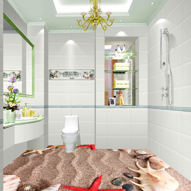 где купить Free shipping photo floor custom living room waterproof thickened wallpaper flooring 3D bathroom marine bio flooring mural по лучшей цене