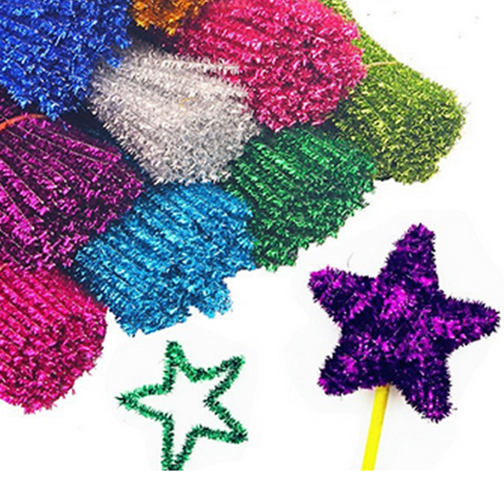 Kids 320PCS 16Colors Montessori Glitter Chenille Stem Sticks Pipe Cleaner Plush Tinsel Stems Wired Stick Twist Rod DIY Craft Toy