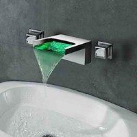 Новый Chrome Водопад настенное крепление 3 цвета светодиодный Ванная комната раковина кран двойной ручкой холодной и горячей воды Нажмите