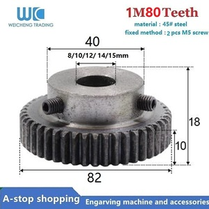 1Pcs 1mod 80 teeth M1 shaft gear 8/10/11/12/15mm 80T Module Pinion Motor Gear for RC Buggy Monster Truck Brushed Brushless Moto(China)