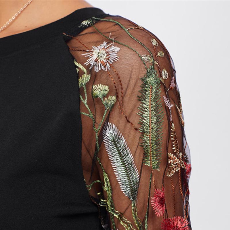 SHEIN Koronki Ramię Łuk Pokrywają Powrotem Tee Długim Rękawem T koszula Kobiety Czarny 2017 New Moda Jesień Kobiet Seksowna Koszulka 11