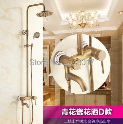 Home Improvement Bathroom Fixtures Aggressive Antique Retro Bathroom Shower Set Blue And White Porcelain Holder Wall Mounte Telephone Style Ceramic Handheld Shower Zr08 Lustrous
