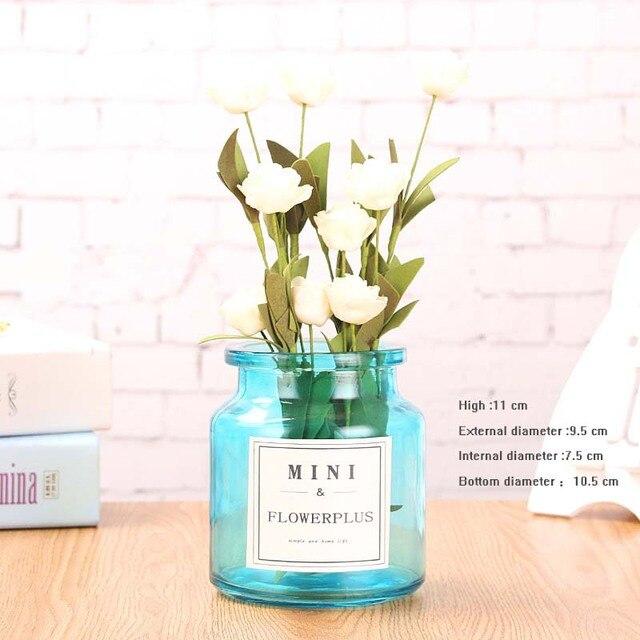 Handcraft Colorful Vase DIY Glass Vase Office Decor Creative Hydroponic Bottle Home Decoration Transparent Micro-landscape