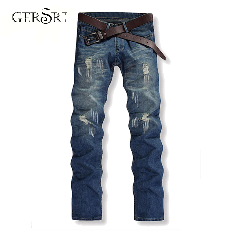 Gersri Straight Destroyed Jeans Brand Slim Casual Ripped Jeans Homme Retro Men's Denim Trousers High Quality Cotton Male Pants