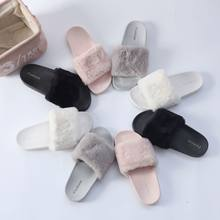 21e05d6f7c35e1 New Casual Slipper Flip Flop Women Slippers Ladies Slipper On Sliders  Fluffy Faux Fur Flat ladys slipper shoes
