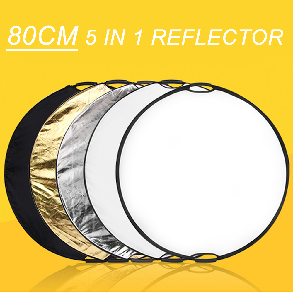 80cm 5in1 Handheld Collapsible Lighting Reflection Disc Reflector with Carrying Bag for Photography Studio