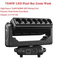 Nuovo Testa Mobile 7X40W 4IN1 LED Pixel Bar Zoom Attrezzature Per Professionali per DJ del Partito Della Discoteca Della Luce Della Lavata luci di Effetto di Fase Spettacolo