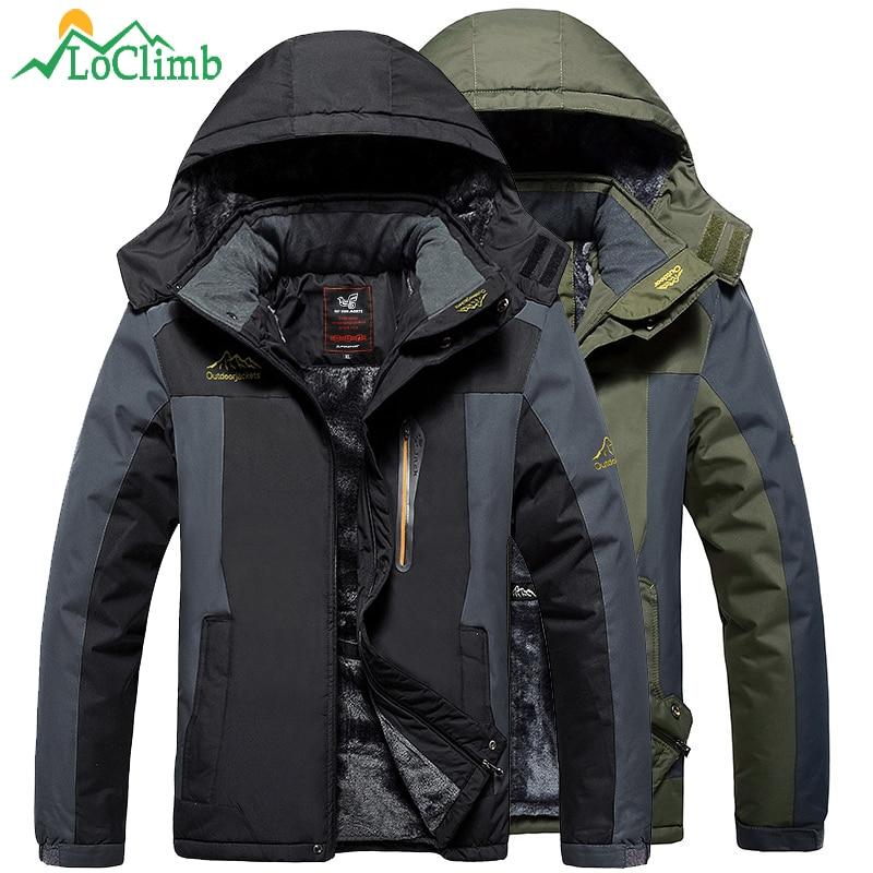 LoClimb Plus Size L 9XL Winter Camping Hiking Jacket Men Waterproof Outdoor Sports Coat Trekking Ski
