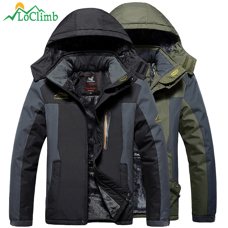 LoClimb Plus Size L-9XL Winter Camping Hiking Jacket Men Waterproof Outdoor Sports Coat Trekking Ski Fleece Windbreaker AM200