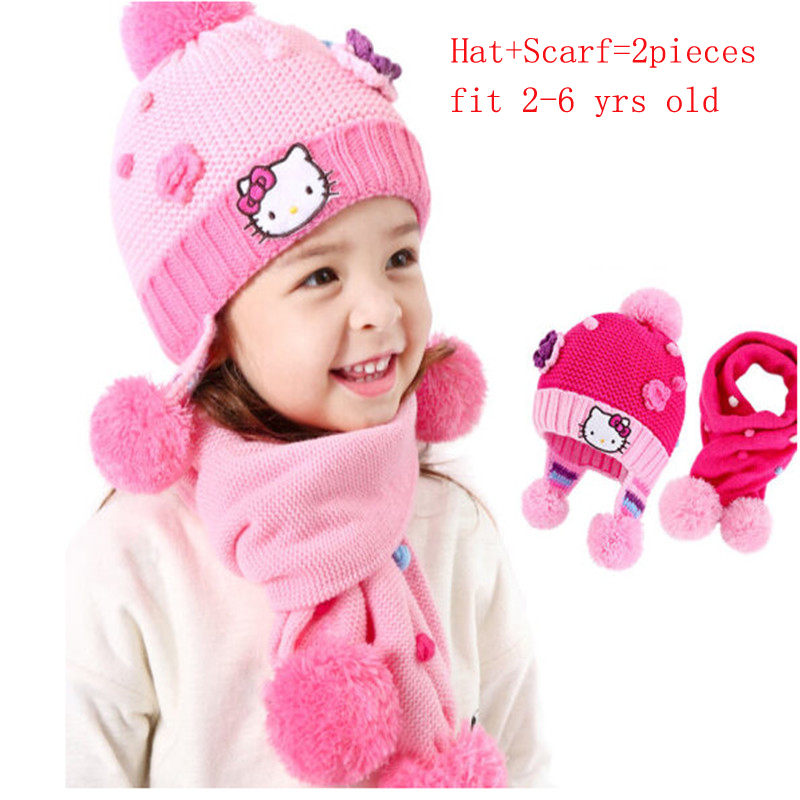Baby Winter Accessories Hat Set with Scarf Neck Warm Caps for Girls Christmas Gift Hello Kitty Children Girl Warm Snow Hats 2-6T